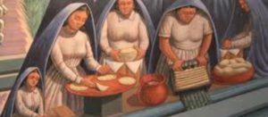 Pintura de cocineras mexicanas preparando alimentos