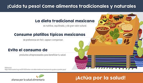 Banner del infográfico ¡Cuida tu peso! Come alimentos naturales y tradicionales