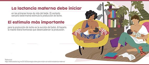 Fragmento del infográfico Recomendaciones para el inicio de la lactancia materna