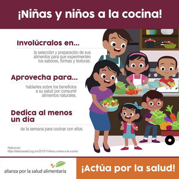 Infográfico ¡Niñas y niños a la cocina!