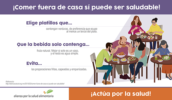 Banner del infográfico ¡Comer fuera de casa sí puede ser saludable!