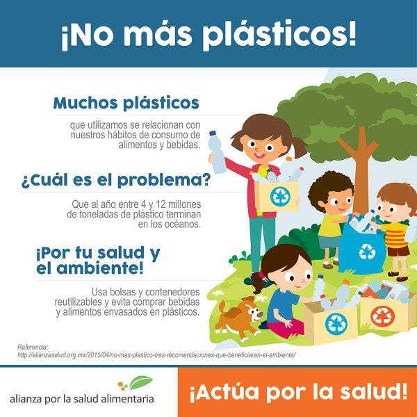 ¡No más plásticos! Muchos de los plásticos que utilizamos se relacionan con nuestros hábitos de consumo de alimentos y bebidas ¿Cuál es el problema? Que al año entre 4 y 12 millones de toneladas de plástico terminan en los océanos.  Por tu salud y el ambiente usa bolsas y contenedores reutilizables y evita comprar bebidas y alimentos envasados en plásticos
