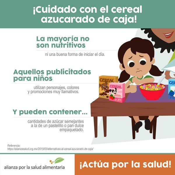 Infográfico ¡Cuidado con el cereal azucarado de caja!