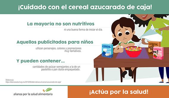 Bannher del infográfico ¡Cuidado con el cereal azucarado de caja!