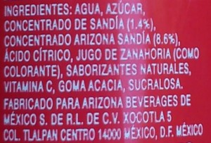 122Arizona_ Lista ingredientes