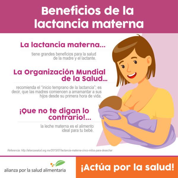 Infografía Beneficios de la lactancia materna, tanto de la madre como del lactante