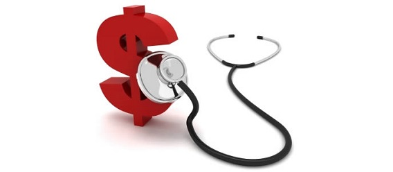 Ilustración sobre gasto en salud. Estetoscopio sobre un signo de pesos.