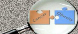 Dos piezas de rompecabezas que embonan con las leyendas cáncer y obesidad miradas a través de una lupa, que ilustran la asociación entre el cáncer y la obesidad