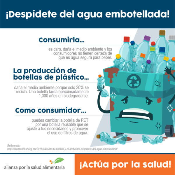 Infografía ¡Despídete del agua embotellada! Consumir agua embotellada… Es caro, daña el medioambiente y los consumidores no tienen certeza de que es agua segura para beber.  La producción de botellas de plástico…  Daña el medio ambiente porque solo 20% se recicla. Una botella tarda aproximadamente 1,000 años en biodegradarse.  Como consumidor puedes… cambiar la botella de PET por una botella reusable que se ajuste a tus necesidades y promover el uso de filtros de agua