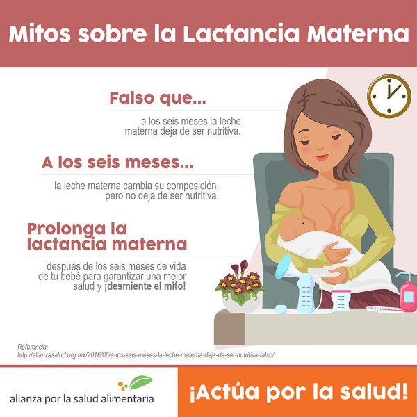Infográfico Mitos sobre la lactancia materna. Falso que a los 6 meses la leche materna deje de ser nutritiva