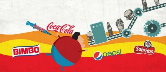 Ilustración de comida y bebida procesada o chatarra, y un niño obeso