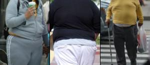 Tríptico de personas obesas