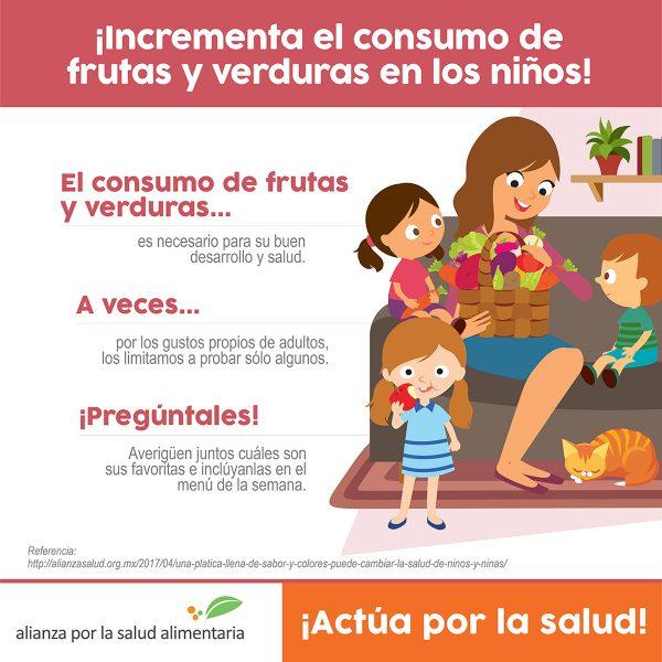El consumo de frutas y verduras es necesario para el buen desarrollo y salud de los niños y niñas. A veces por los gustos propios de adultos, los limitamos a probar solo algunos. ¡Pregúntales! Averigüen juntos cuáles son sus favoritas e inclúyanlas en el menú de la semana