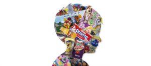 Ilustración con rostro infantil de perfil lleno de productos ultraprocesados