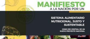Fragmento de la portada de nuestro Manifiesto a la Nación por un Sistema Alimentario Nutricional, Justo y Sustentable (SANJS)