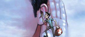 Ilustración de educador en diabetes hablando al oído de un paciente