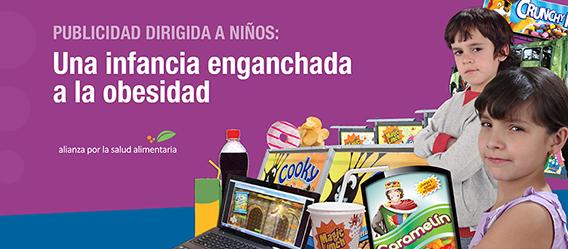 """Banner de la portada del documento """"Publicidad dirigida a niños: una infancia enganchada a la obesidad"""" de la Alianza por la Salud Alimentaria"""