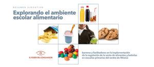 Portada del resumen ejecutivo de la investigación Explorando el ambiente escolar alimentario