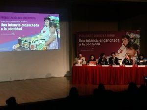 """Presentación de nuestro documento documento """"Publicidad dirigida a niños: una infancia enganchada a la obesidad"""" en el auditorio del museeo Franz Mayer"""
