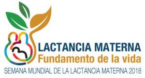 """Logo de la Semana Mundial de la Lactancia Materna 2018, que se celebra del 1 al 7 de agosto bajo el lema """"Lactancia Materna, Fundamento de la Vida"""""""