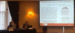 Conferencia de prensa donde organizaciones sociales reiteran y documentan que TLCAN prohíbe etiquetado de advertencia en alimentos y que Secretaria de Economía ha concordado con esta prohibición