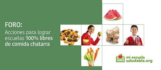 Ilustración con la leyenda Foro: acciones para lograr escuelas 100% libres de comida chatarra, miescuelasaludable.org
