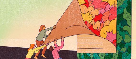 Fragmento de la ilustración de tres personas que quitan la etiqueta casi lisa de un gran recipiente de un producto ultraprocesado para ver otra etiqueta más colorida
