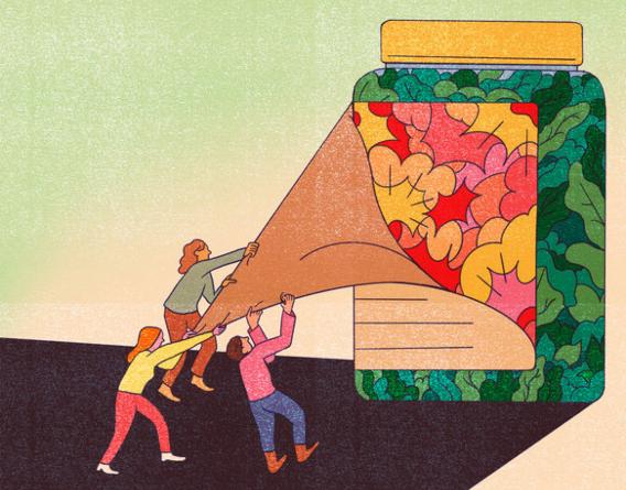 Ilustración de tres personas que quitan la etiqueta casi lisa de un gran recipiente de un producto ultraprocesado para ver otra etiqueta más colorida