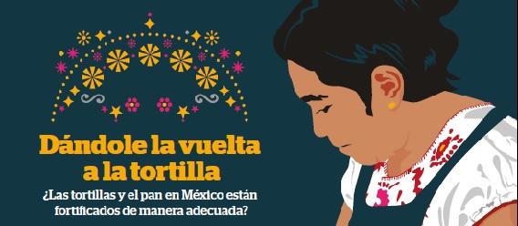 Fragmento de la portada del estudio Dándole vuelta a la tortilla ¿Las tortillas y el pan en México están fortificados de manera adecuada?