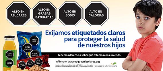 Banner de la campaña Exijamos etiquetados claros para cuidar la salud de nuestros hijos en México
