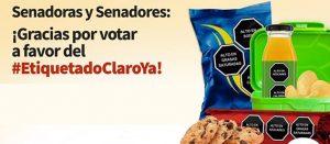 Fragmento del banner senadoras y senadores: gracias por votar a favor del #EtiquetadoClaroYa! ¡Ya es Ley!