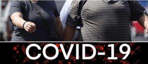 Pareja de personas obesas caminando y la leyenda Covid-19