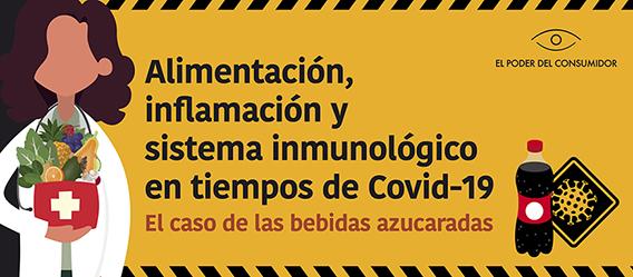 Banner ilustrado con la leyenda Alimentación, inflamación y sistema inmunológico en tiempos de Covid-19 El caso de las bebidas azucaradas