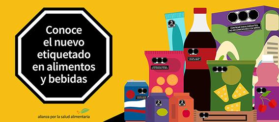 Ilustración con la leyenda: Conoce el nuevo etiquetado de advertencia en alimentos y bebidas