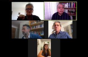Pantalla dividida del encuentro virtual ¿Cómo sobrevivir a la comida chatarra en la pandemia de COVID-19?, que organizó la iniciativa #TejiendoRedesInfancia