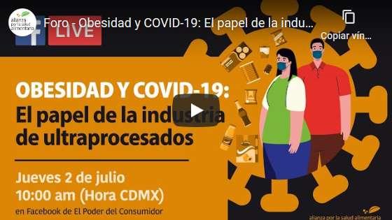 Portada del video del webinar Obesidad y covid-19: El papel de la industria de ultraprocesados