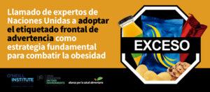 Expertos de Naciones Unidas llaman a adoptar el etiquetado frontal de advertencia como estrategia fundamental para combatir la obesidad