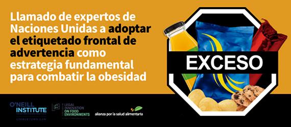 Banner del foro del llamado de expertos de Naciones Unidas a adoptar el etiquetado frontal de advertencia como estrategia fundamental para combatir la obesidad