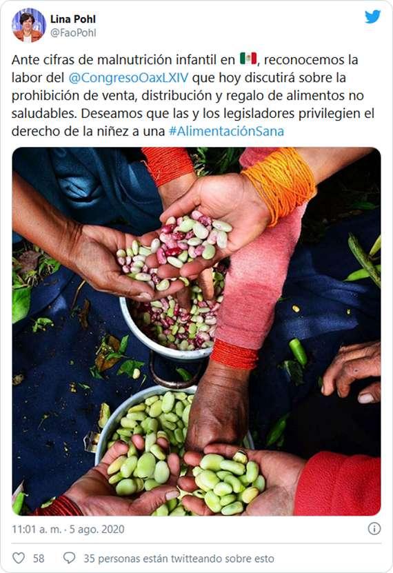 Tuit de Lina Pohl, representante de la FAO en México, reconociendo la labor Congreso de Oaxaca