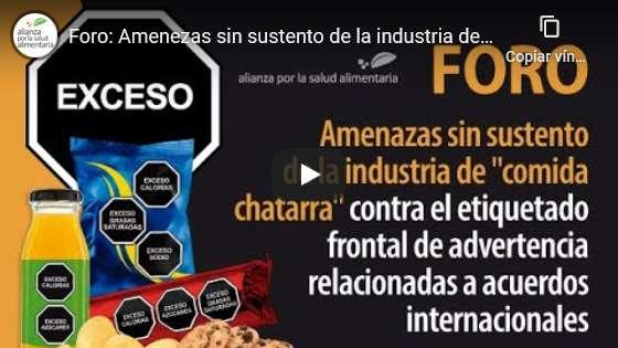 """Portada del video Foro: Amenazas sin sustento de la industria de """"comida chatarra"""" contra el etiquetado frontal"""