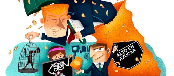 Ilustración con fragmento de la portada de la investigación La interferencia de la industria es nociva para la salud