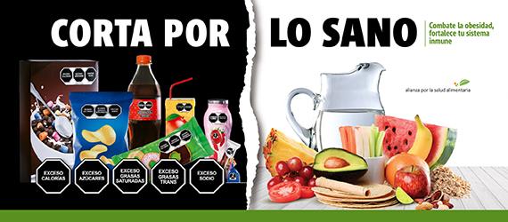 Banner de la campaña Corta por lo sano, con ilustración que contrasta los alimentos y bebidas ultraprocesadas y los auténticamente naturales