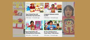 Captura de pantalla incluida en la investigación de vídeos relacionados con la comida por parte de Ryan Kaji, el «youtuber» mejor pagado de 2019