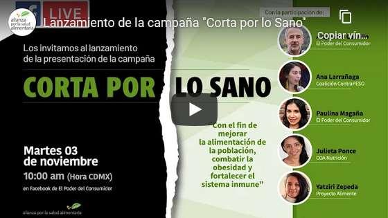 """Portada del video Lanzamiento de la campaña """"Corta por lo Sano"""""""