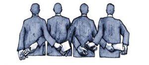 Ilustración de personas de espaldas que reciben por un alado documentos y por el otro dinero