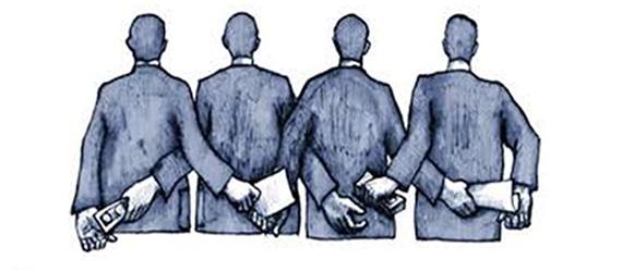 Ilustración de personas de espaldas que reciben, por un lado, documentos y, por el otro lado, dinero