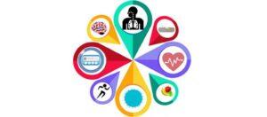 Ilustración con íconos de enfermedades no transmisibles (ENT)