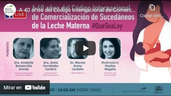 Portada del video A 40 años del Código Internacional de Comercialización de Sucedáneos de la Leche Materna #QueSeaLey