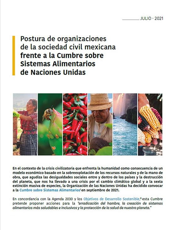 Portada del documento Postura de organizaciones de la sociedad civil mexicana frente a la Cumbre sobre Sistemas Alimentarios de Naciones Unidas